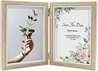 Afuly Double Picture Frame 4x6 Rustic Wood Hinged Photo Frames for Desk Vertical 2 Openings Wedding Gifts