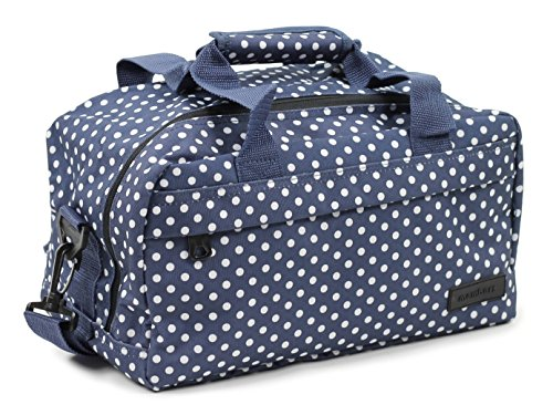 Members Essential On-Board Ryanair Compliant New Hand Baggage in Navy Polka Dot- 40 x 25 x 20cm