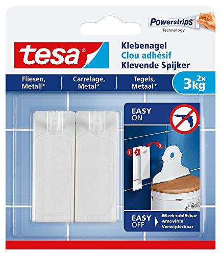 tesa Clavo adhesivo para azulejos y metal, no deja rastro (3 kg, 6 clavos)
