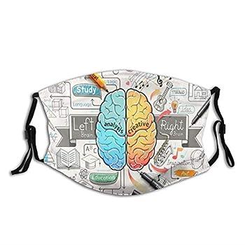 Education Human Brain Diagram Psychology Creative Face Mask with 2 Filters Reusable Washable Cloth Bandana Scarf Women Men Kids Neck Gaiters Designer Print Shield