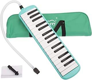 Festnight 32 Key Melodica Mouthpiece Bag Piano Style Pianica with Carrying Bag and Cleaning Cloth 32-Key Portable Melodica Green