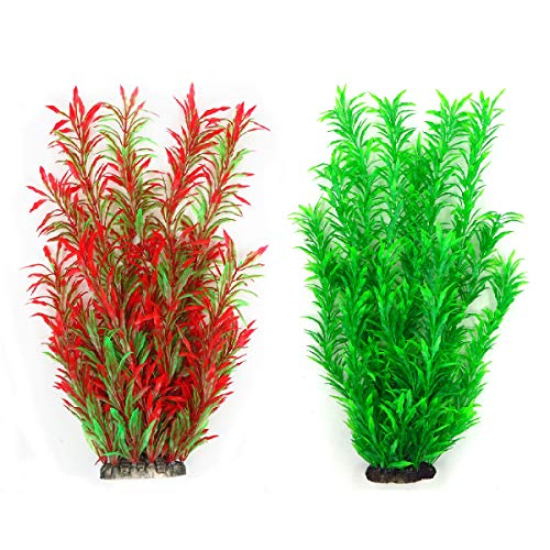 Supyouleg Aquarium Plants Fish Tank Plants Artificial Water Aquatic Tall Plant Red Green Big for Fish Frog Tank Decorations Plastic Fake Plants Decor Pack of 2