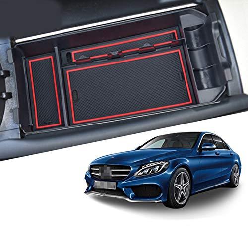 CDEFG para Benz C-Class GLC X253 W205 Caja de almacenamiento, Consola Central Apoyabrazos Caja del coche Interior Center Armrest Storage Box, Con Tapete Antideslizante Accesorios Interiores del coche