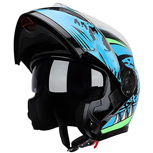 Motorcycle Helmet Flip-Up DOT/ECE Approved Lightweight Anti-Fog Dual Visor Full-Face Motorbike Helmets Removable Washable Lining for Street Bike, Racing, Motocross, ATV