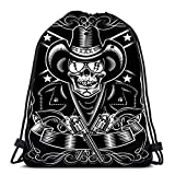 Ahdyr Mochila con cordón, Calavera y revólver de Vaquero para la Escuela o el Viaje