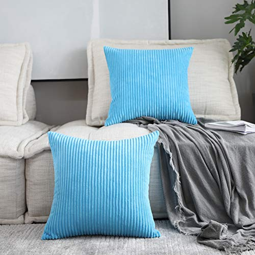 Home Brilliant 2 Pack Decor Supersoft Striped Textured Velvet Corduroy Decorative Throw Toss Pillowcase Cushion Cover for Chair, Turquoise, (50x50 cm, 20inch)