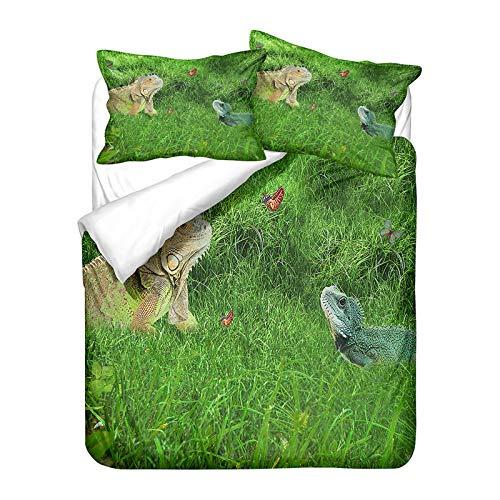 YZDM - Juego de cama con diseo de animales de lagarto y 2 fundas de almohada de microfibra, suave y fcil de limpiar, 135 x 200 cm
