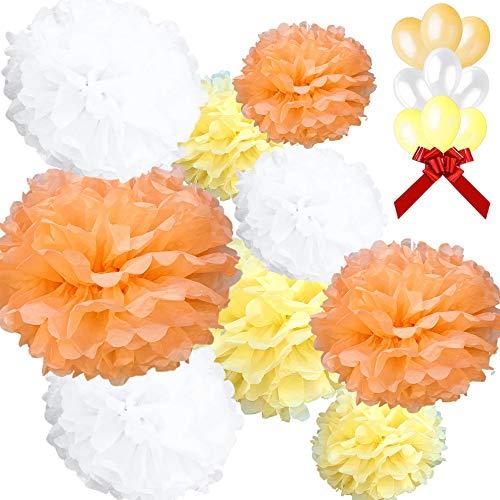 N/C AMPS, confezione esclusiva di 18 pezzi decorazioni per festa compleanno, matrimonio, battesimo, 9 pompon in carta di seta bianca, arancione, giallo,dimensioni 20,25,30 cm e 9 palloncini in omaggio