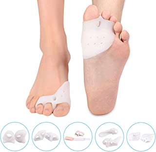 Toe Separator Gel Bunion Corrector Hammer Toe Straightener Professional Forefoot Cushions Toe Straightener Bunion Pads Relieve Hammer Toe Bunion Overlapping Toe Callus Blister for Men Women(5 pair)