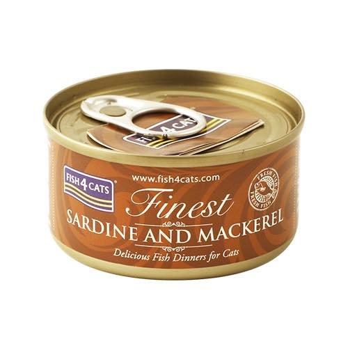 【FISH4CATS】フィッシュ4キャット缶詰「イワシ&サバ」SARDINE AND MACKEREL/ケース(70g×10 缶入)
