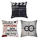 Uarter Juego de 3 fundas de almohada decorativas de algodón y lino con cremallera invisible, diseño de cine, 45,7 cm y 45,7 cm, juego de 3