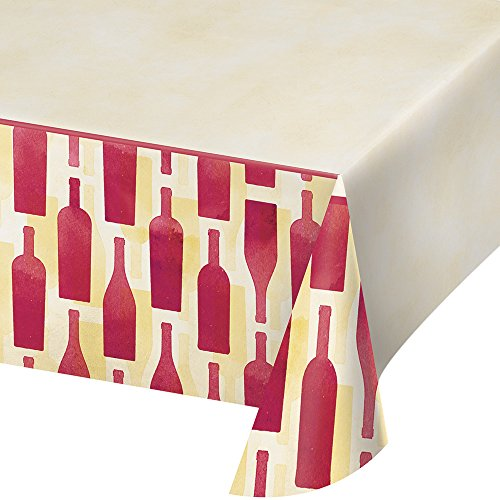 "Creative Converting 324452 Sip Hooray Border Print Plastic Table Cover, 54"" x 102"""