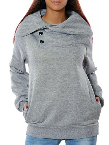 Daleus Damen Sweatshirt Pullover Sweater Langarm Hoodie No 15826 Grau XXXL / 46