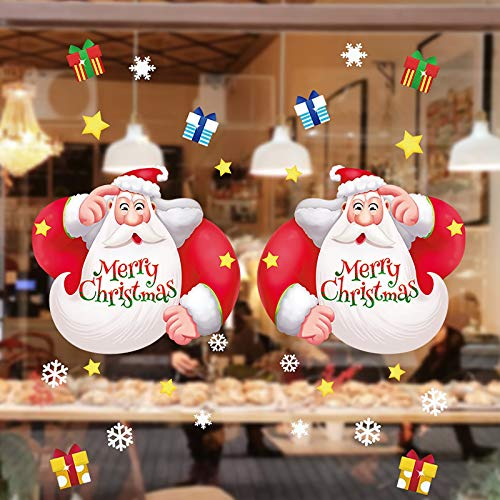 Hunpta @ Fenster Aufkleber Nette DIY Santa Schneeflocke Weihnachten Deko Selbstklebend Fensterbilder Fenstersticker Wandtattoo Wandaufkleber Weihnachtsdeko Wand Fenster Dekoration