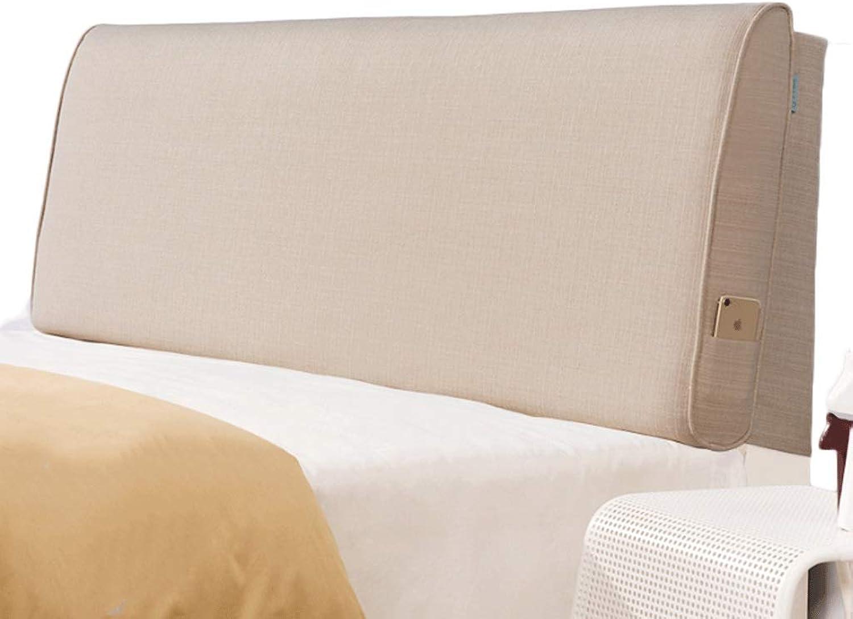Tête de lit douce Dossier Coton Et Lin Couleur Unie Double Coussin Taille Détachable Support De PositionneHommest (Couleur   Lin, taille   No bedside Twin Taille)