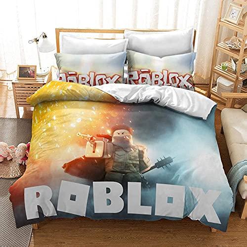 CXSMGS Roblox Bettbezug-Set Anime Bettwäsche-Set 135X200cm Einzelbett Und Doppelbett Weich Und Bequem, Geeignet Für Jugendliche Und Kinder (Roblox3,135x200cm+80x80cmx2)