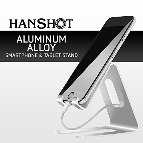 Hanshot Desktop Cell Phone Stand, Tablet Stand, Cell Phone Charging Dock, Cradle, For all Android Smartphone, iPad, iPhone 6 6s 7 Plus 5 5s 5c (Silver)