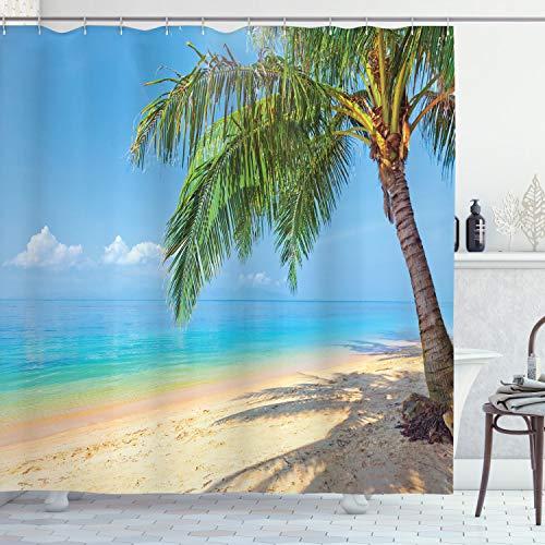 ABAKUHAUS Landschaft Duschvorhang, Kokosnuss-Palmen-Insel, Hochwertig mit 12 Haken Set Leicht zu pflegen Farbfest Wasser Bakterie Resistent, 175 x 180 cm, Himmel Blau Aqua Creme grün