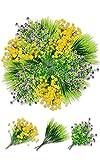 Flores Artificiales Exterior Resistente a los Rayos UV Arbustos Plantas de Plástico Ramo de Flores Flor Falsas Exterior Interior para Casa Jardín Porche Ventana Fiesta Boda