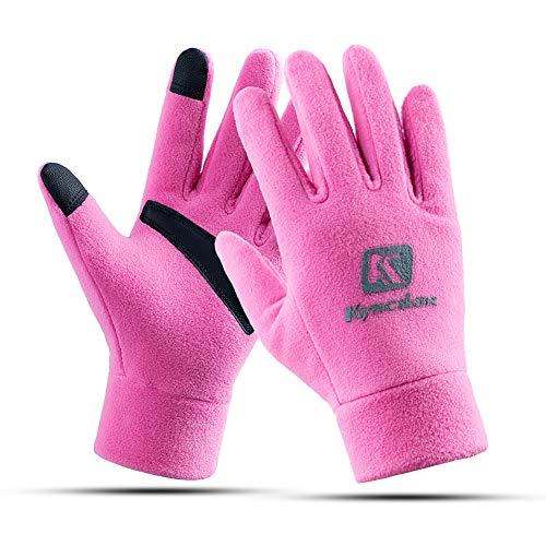 Yuzhijie Guantes de invierno gruesos para pantalla táctil, ciclismo, esquí, calidez, cortavientos, impermeables, color rosa