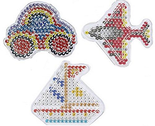 Happy Price Toys Midi Bügelperlen Stiftplatte Set Fahrzeuge (CH) - Auto, Flugzeug,Segelschiff + 100 Gratis Perlen