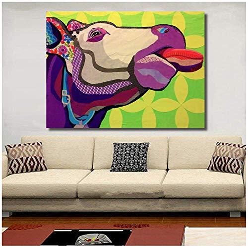 Impreso en la pared Cabeza de vaca Animal Pintura al óleo Impresiones de la...