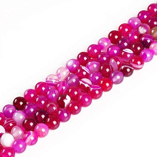 Cuentas de piedra natural de lapislázuli, ojo de tigre, amatistas rosadas, de cuarzo, redondas, sueltas, para hacer pulseras de 4 a 12 mm, Fucsia, 8mm about 48pcs