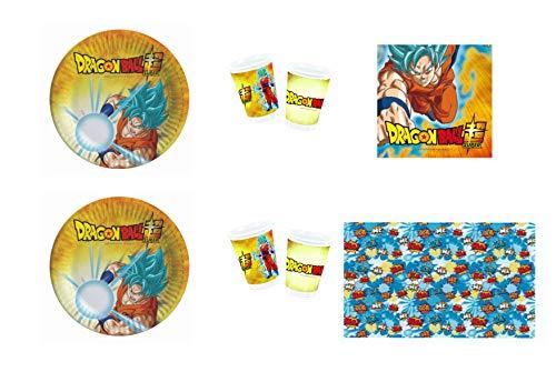 Dragon Ball Goku y Vegeta - Juego de mesa para fiesta con temática para 16 niños (16 platos, 16 vasos, 20 servilletas y 1 mantel)
