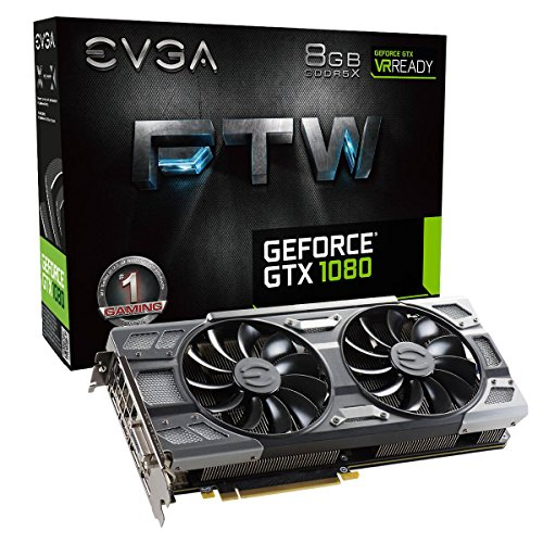 EVGA GeForce GTX 1080 FTW GAMING ACX 3.0, 8GB GDDR5X, RGB LED, 10CM FAN, 10 Power Phases, Double BIOS, DX12 OSD Support (PXOC) Grafikkarte 08G-P4-6286-KR