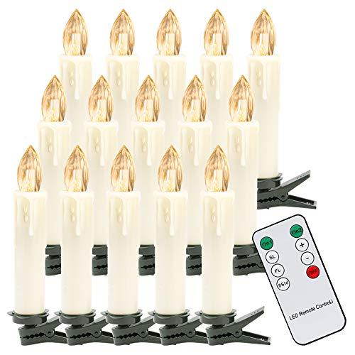 Hengda 30er LED Weihnachtskerzen Kabellos, Warmweiß Christbaumkerzen Kabellos, mit Fernbedienung Timer, LED Kerzen Dimmbar, IP44, für Weihnachtsbaum, Weihnachtsdeko