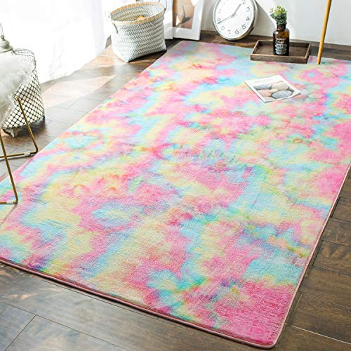 Andecor Soft Girls Room Rugs - 4 x 6 Feet Fluffy Rainbow Area Rug for Kids Baby Room Bedroom Nursery Home Decor Large Floor Carpet