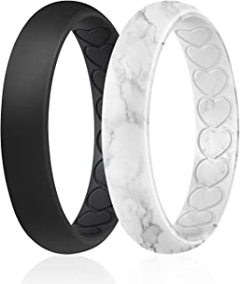 ROQ Silicone Wedding Bands for Women - Thin Inner Hearts Unique Design Womens Silicone Rubber Ring - Bridal Jewelry Set An...