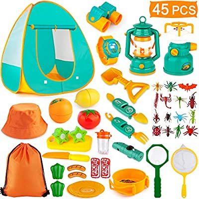 AOKIWO 45PCS Kids Camping Tent Set, Pop Up Play Tent with Camping Gear Tools Indoor Outdoor Pretend Play Set for Toddler Boys/Girls - Including Telescope, Walkie Talkie, Camping Tent, Stove, and etc
