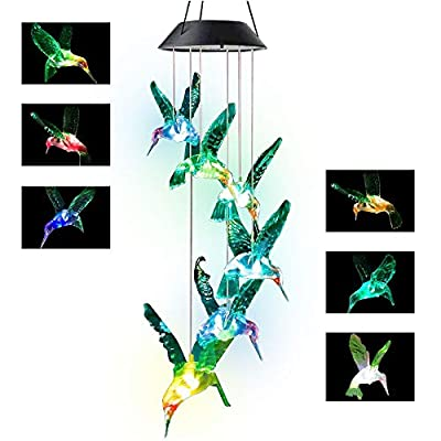 Greenke Hummingbird Wind Chimes Solar Solar Wind Chimes Color Changing Solar Chimes Unique Outdoor Presents Windchimes Birthday Gift for Mom Hummingbird Gifts for Women Wife Grandma