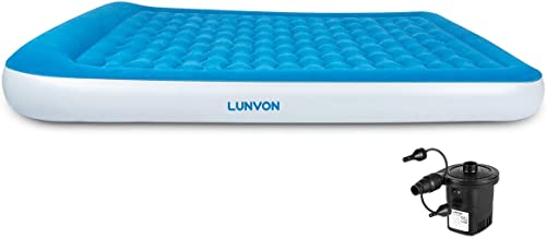 Lunvon Queen Size Self Inflatable Pad Camping Air Mattress Blow Up Bed with Built-in Pillow Anti-Leakage Raised Airbed with Rechargeable Pump for Home, Guest, Height 10