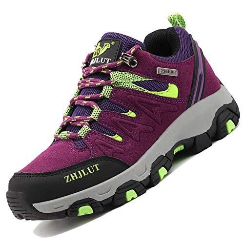 Unitysow Wanderschuhe Trekking Schuhe Herren Damen Sports Outdoor Hiking Sneaker Atmungsaktiv Turnschuhe Walking Wandern Anti-Rutsch Schuhe für Unisex Gr.35-47,Violett-2,Gr.37