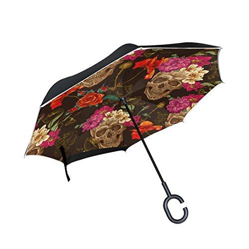 CoolPrintAll Sugar Skull Dia De Los Muertos Double Layer Windproof, Waterproof Auto Open Reverse Folding Upside Down Car Umbrellas with C Shape Handle