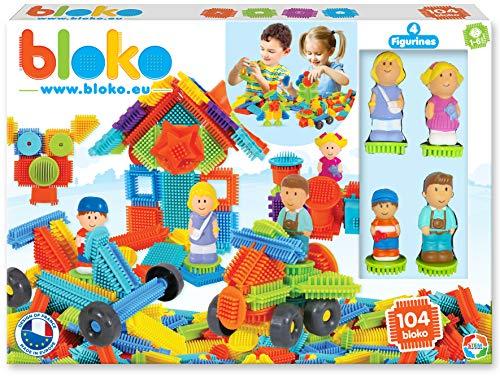 BLOKO 503627 - Cofanetto di 100 4 Personaggi 3D della Famiglia a Partire dai 12 Mesi Made in EU