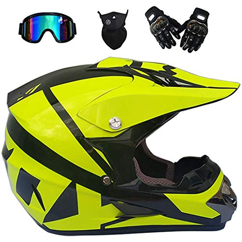 Casco de motocross para jóvenes y adultos, casco eléctrico de moto de cross de cara completa con máscara de guantes, Quad Dirt Bikes BMX Bicicleta MTB ATV Offroad DH Casco, certificación DOT
