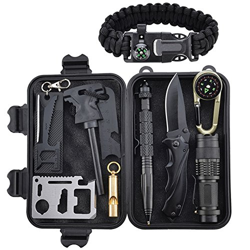 Kit de Supervivencia Profesional, Xuanlan 10 Piezas Outdoor Caminata Campamento Campamento de Emergencia Kit de Supervivencia con Fire Starter Saber Card Lanar Silbato