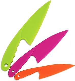 aoory 3 Piezas Cuchillo de Cocina niños Vistoso Seguro el plastico Cuchillo para el Pan Cuchillo de Vegetales