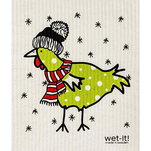 Wet It! Swedish Cloth - Winter Chicken Green