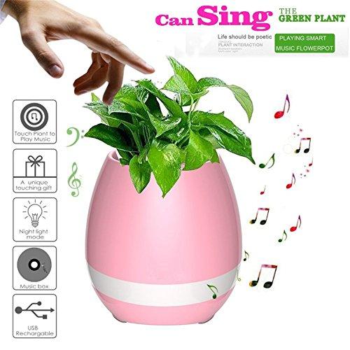 HMILYDYK Smart Touch Muziek Piano Bloem Pot Bluetooth Muziek Bloempot Led Kleurrijke Nacht Licht Smart Plant Pot Led Bloem Pot Oplaadbare Draadloze Luidspreker (Zonder Planten)