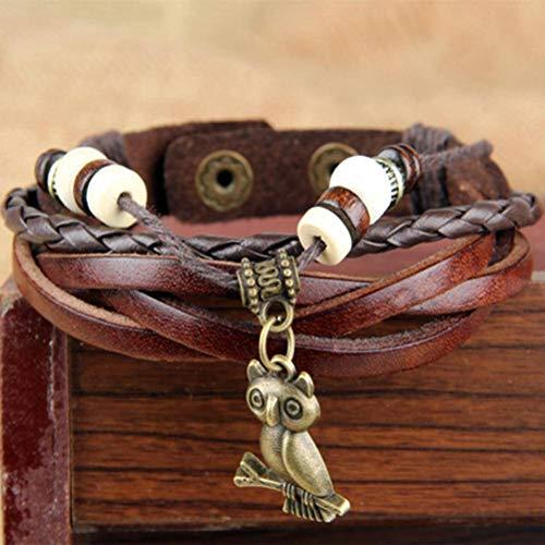 Thumby Unisex Polsband Armbanden Etnische Vintage Lederen Armband Handgeweven Houten Kralen Lederen Armband Donkere koffie