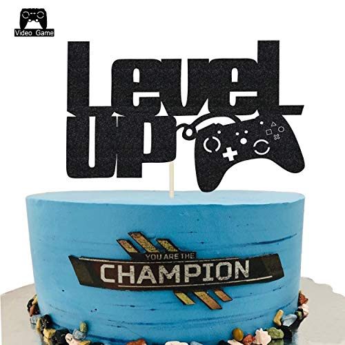 KAPOKKU Level Up Video Game Cake Toppers Happy Birthday Party Favors Supplies Baby Boy Birthday Cake Decoration Party Decorations