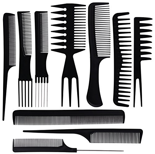 Oneleaf 10PCS Hair Stylists Professional Styling Comb Set Variety Pack Great for All Hair Types & Styles
