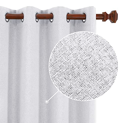 Deconovo Full Blackout Curtains, Thermal Insulated Linen Drapes, 84 inch Length 2 Panels Set for Living Room (Grayish White, 52x84 Inch)