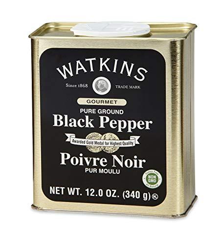 Watkins Gourmet Spice Tin, Pure Ground Black Pepper, 12 oz. Tin, 1 Count