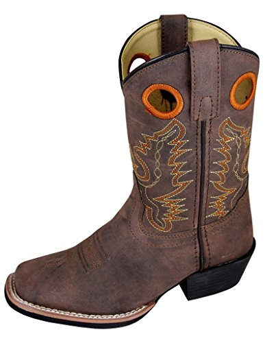 Smoky Mountain Childs Memphis Sq Toe Boot Brown Distress 13 M US Little Kid