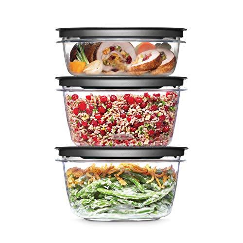 Rubbermaid 2108399 Meal Prep Premier Food Storage Container, 6 Piece Set, Grey